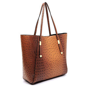 Handbags - XL Ostrich/Croc Tote with Make-up Pouch
